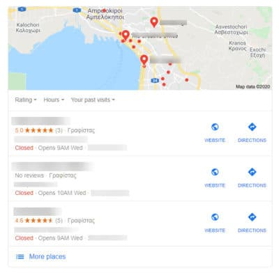 google my business 3 pack results